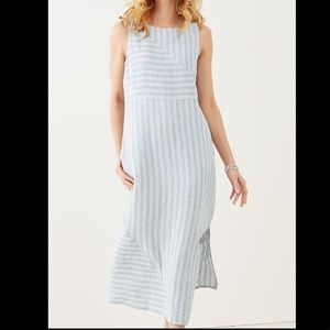 J. Jill Chambray Striped Linen Maxi Dress